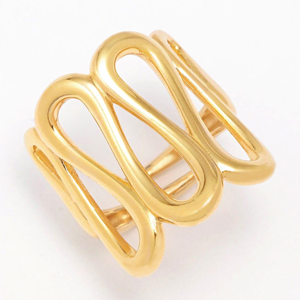 UNOAERRE/ウノアエレ SV 幅広デザイン リング(イタリア製) (ア)ゴールド系