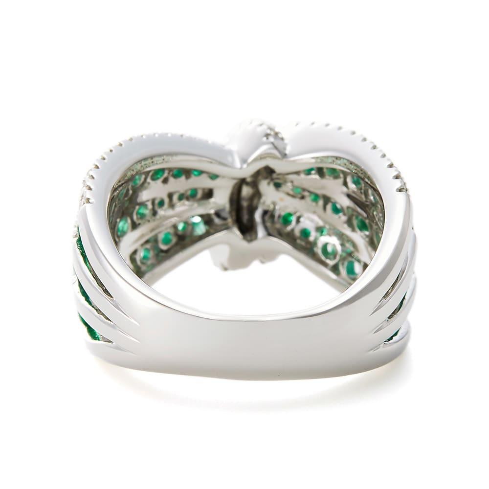 K18WG ダイヤ エメラルド デザイン リング