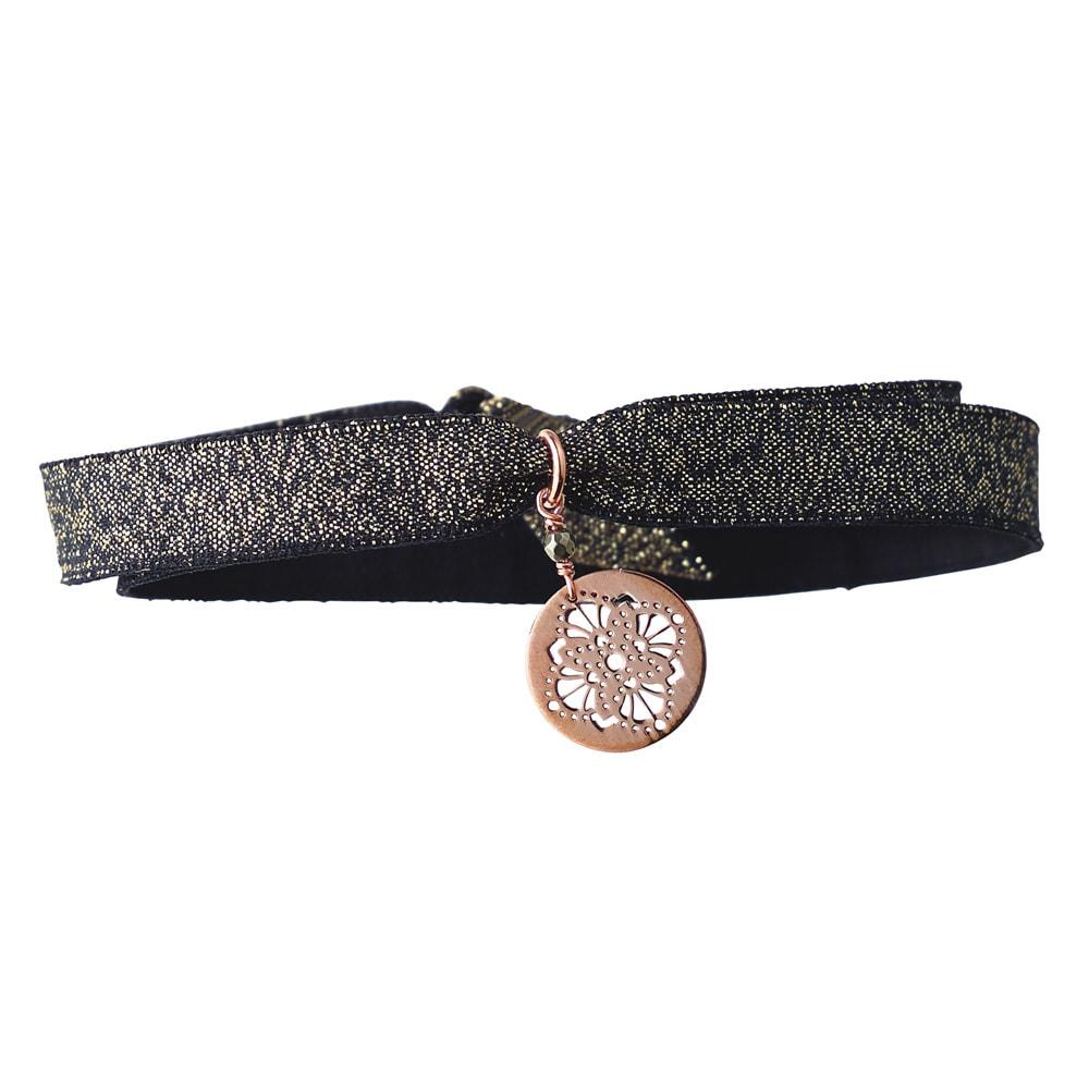 Perle de Lune/ペルル ドゥ リュンヌ K9プレート リボン ブレスレット (ウ)ブラック/アールデコ
