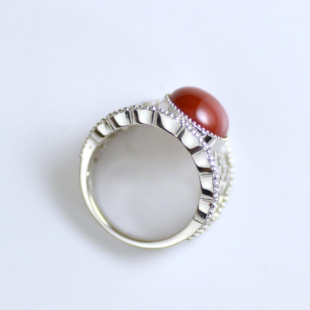 YUKIKO OKURA/ユキコ・オオクラ Pt ダイヤ・血赤珊瑚 リング