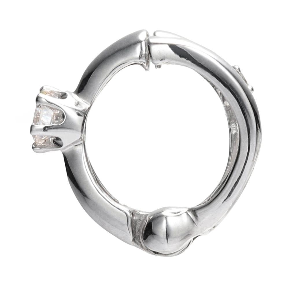 K10 0.12ct ダイヤ リバーシブル ピアリング 挟み込み式
