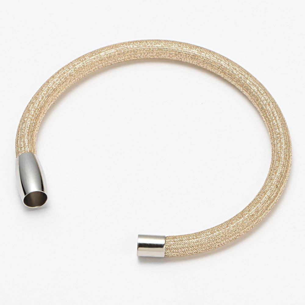 シルキーチョーカー&ブレスレット セット (ア)ゴールド系 ブレスレット マグネット式