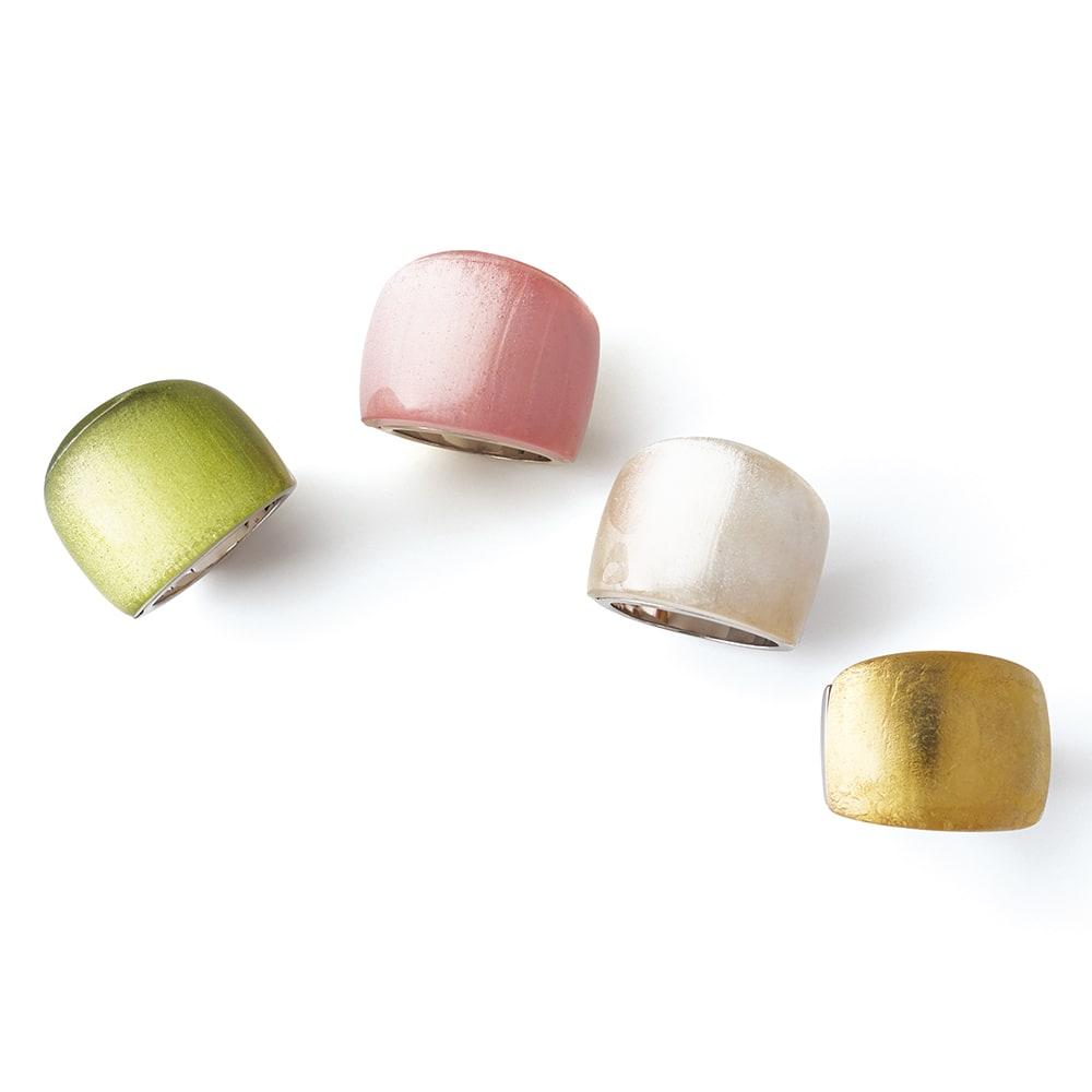 entiere/アンティエーレ SV クリスタルガラス カラー リング 左から (ア)グリーン (イ)ピンク (ウ)ホワイト (エ)ゴールド