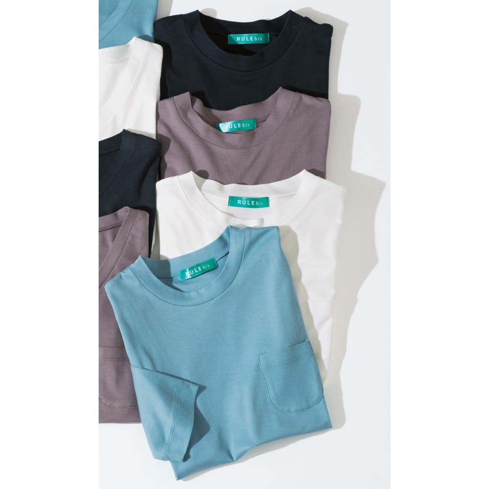 柔らかな肌触りのテンセルコットン クルーネックTシャツ 上から(ア)ブラック (ウ)モカ (イ)ホワイト (エ)ブルー