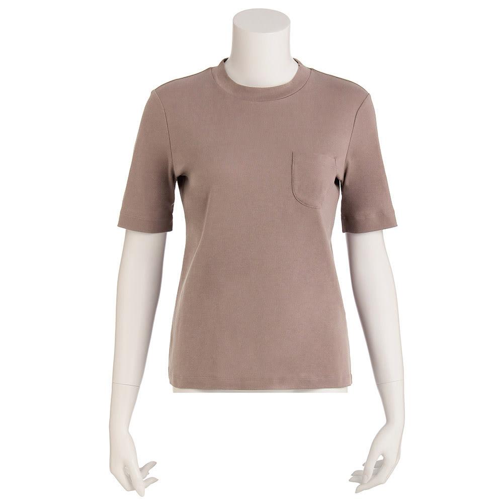 柔らかな肌触りのテンセルコットン クルーネックTシャツ (ウ)モカ
