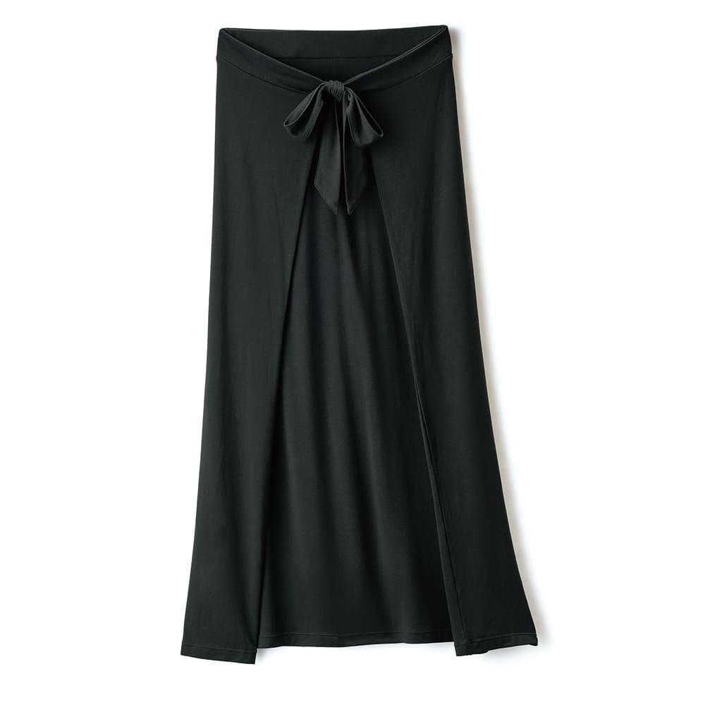 モダールベア天竺 フロントリボン ラップ風スカート (イ)ブラック