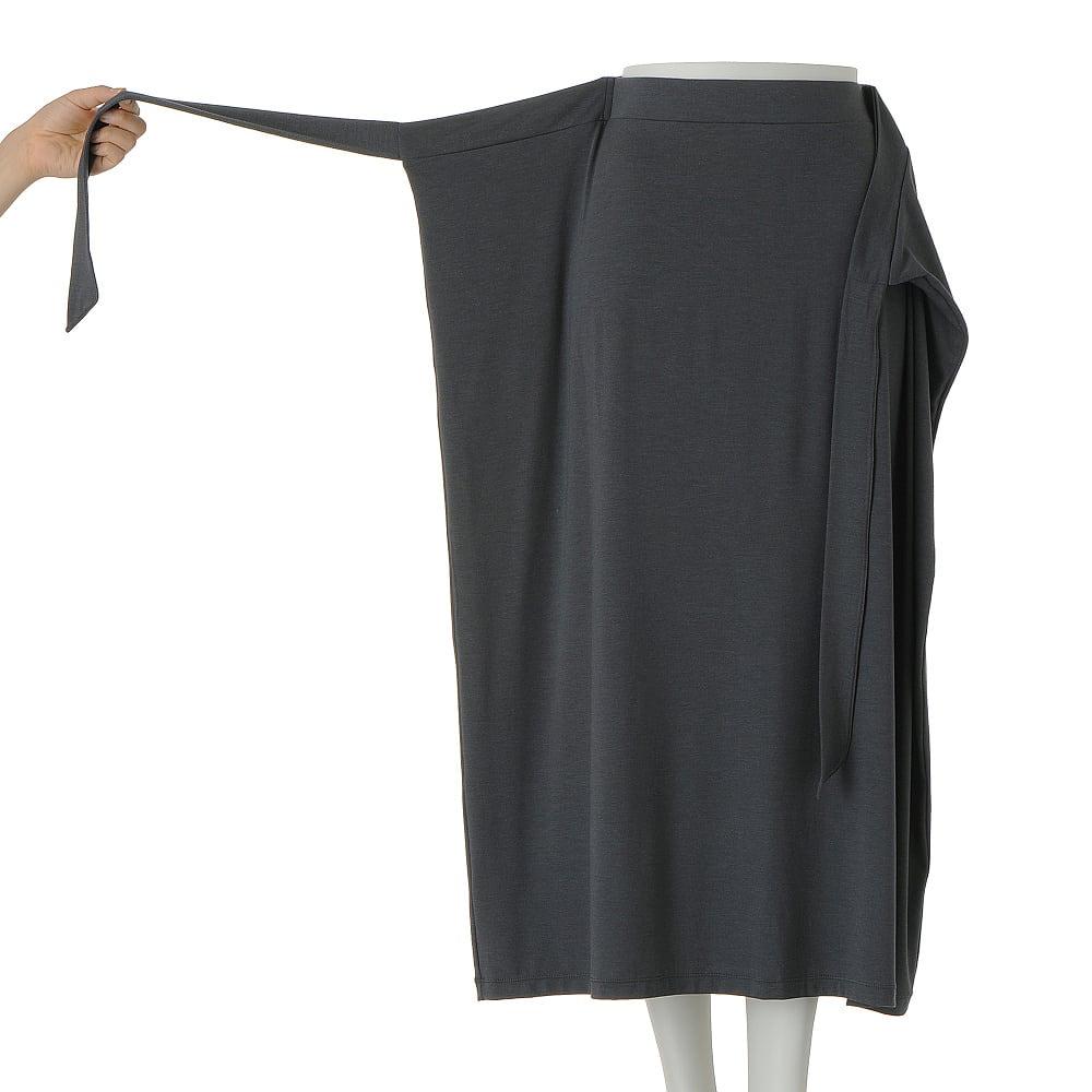 モダールベア天竺 フロントリボン ラップ風スカート