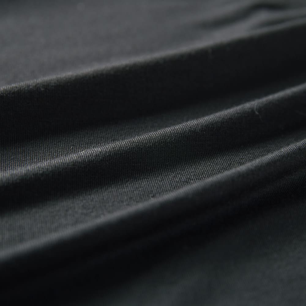 モダールベア天竺 フロントリボン ラップ風スカート (イ)ブラック 生地アップ