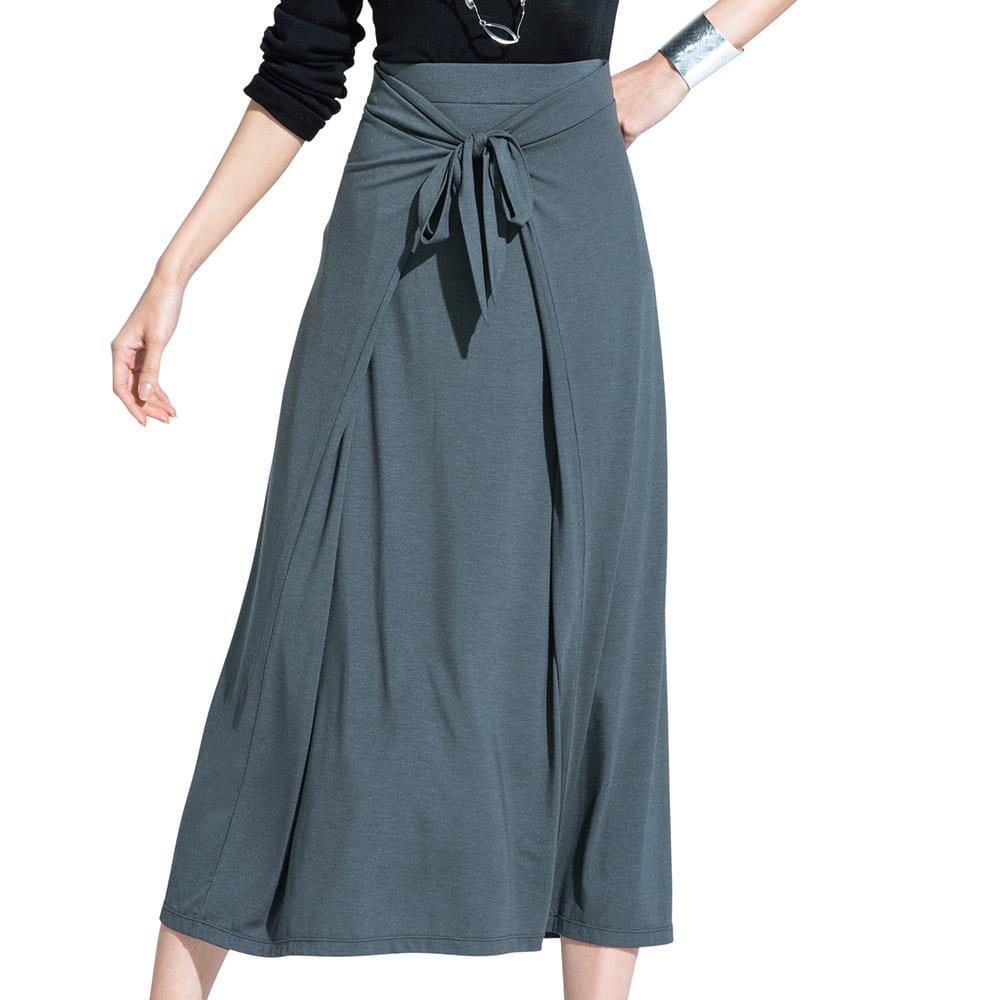 モダールベア天竺 フロントリボン ラップ風スカート コーディネート例