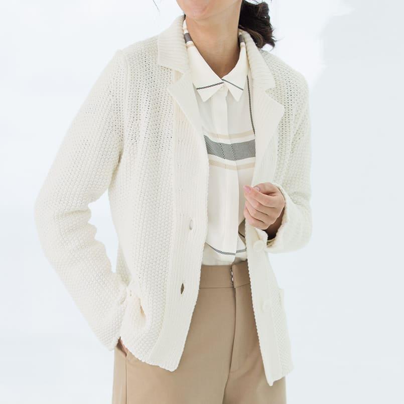 鹿の子ニット テーラードジャケット (ア)オフホワイト 着用例