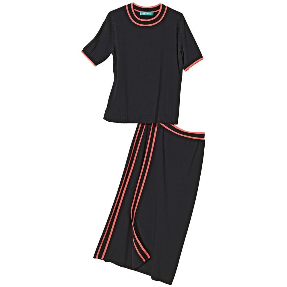 配色ライン ラップ風ニットスカート 上下セットアップで コーディネート例