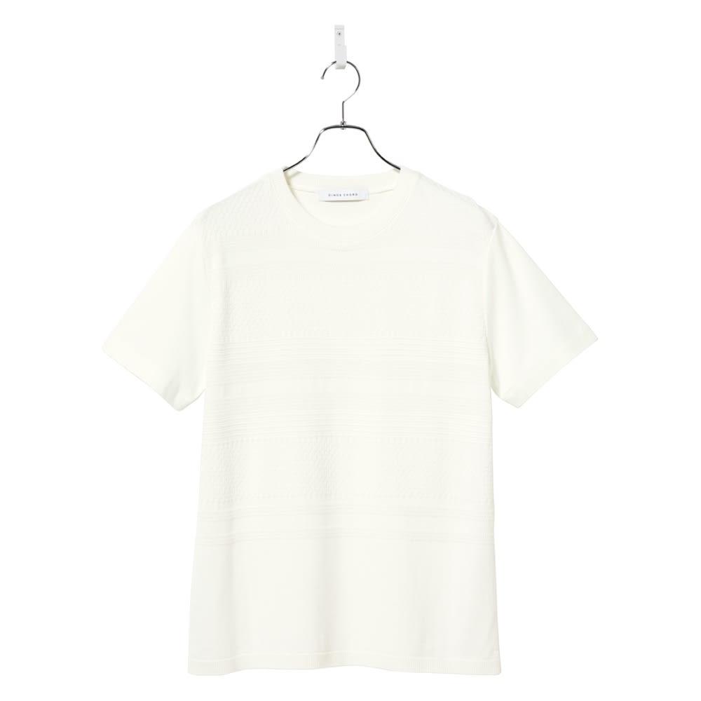 前身地柄ニット切替Tシャツ (ア)ホワイト