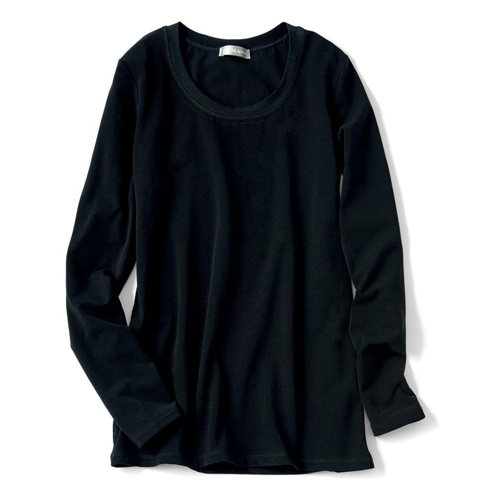 洗えるハイゲージコットンベア天竺シリーズ ラウンドネック 長袖 Tシャツ【2点以上で10%OFF】 (ウ)ブラック