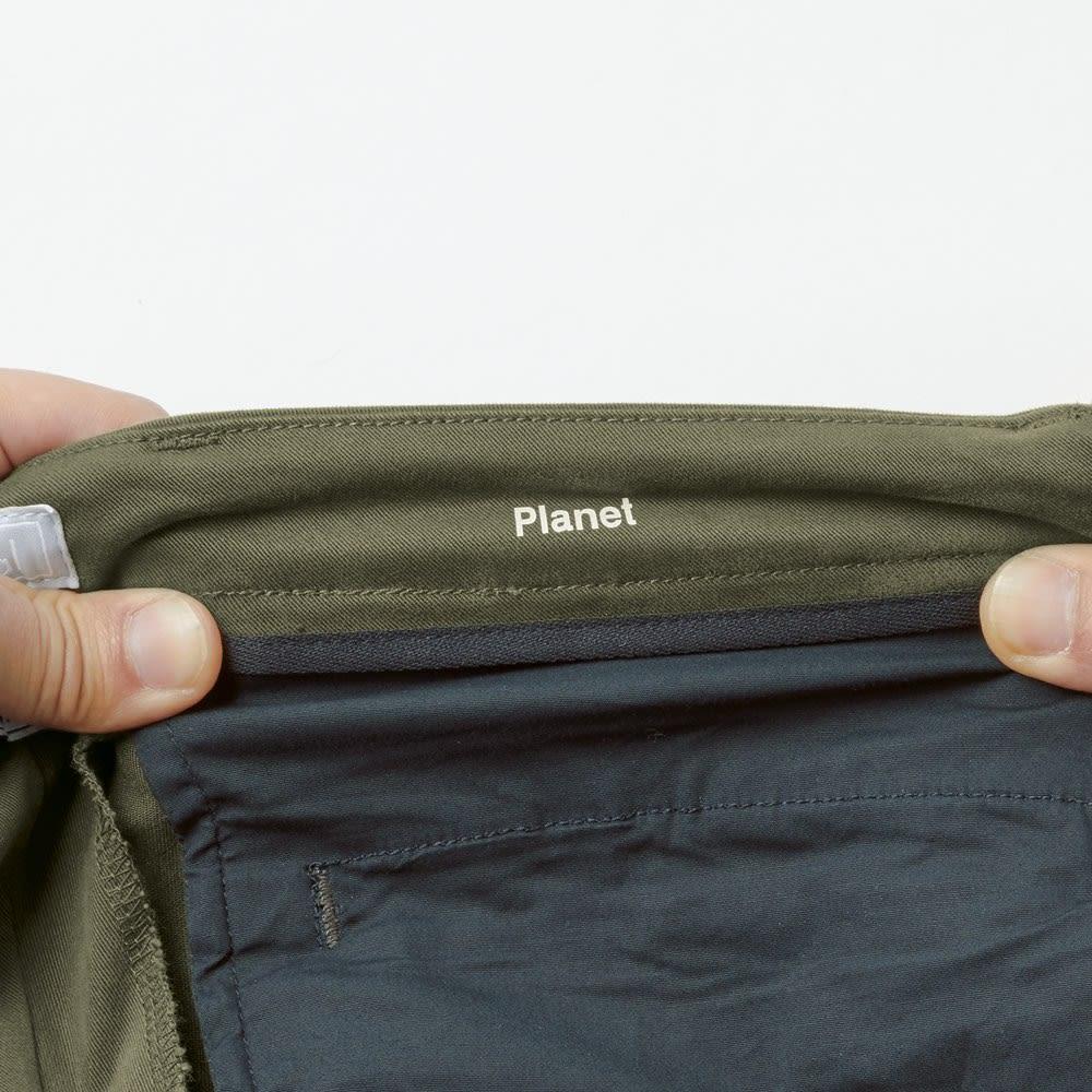 lideal/リディアル Planet トラウザー チノパンツ 腰帯や袋布、パイピング布にまで伸びる素材を使用しているため、ストレスフリーなはき心地。 ※今回こちらのお色の販売はございません。参考画像です。