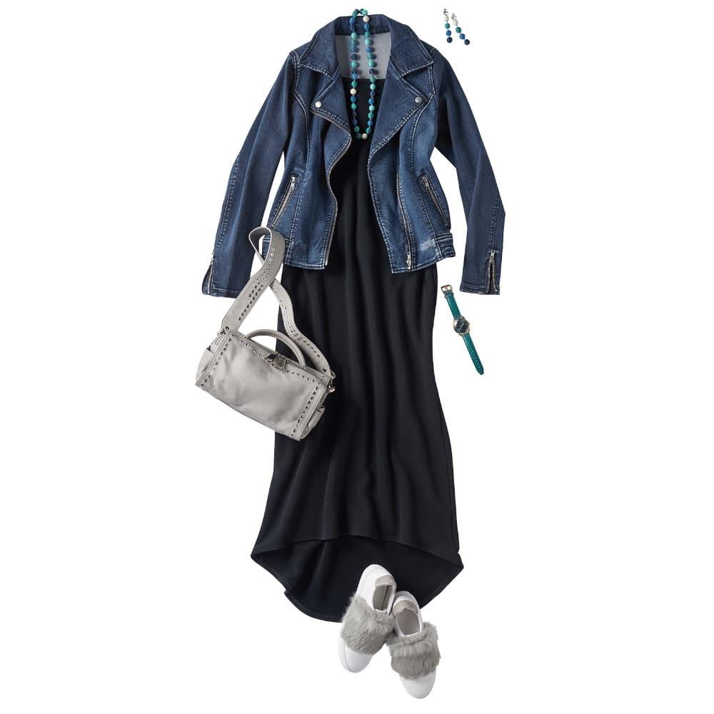 吊り編み裏毛ワンピース(サイズL) コーディネート例