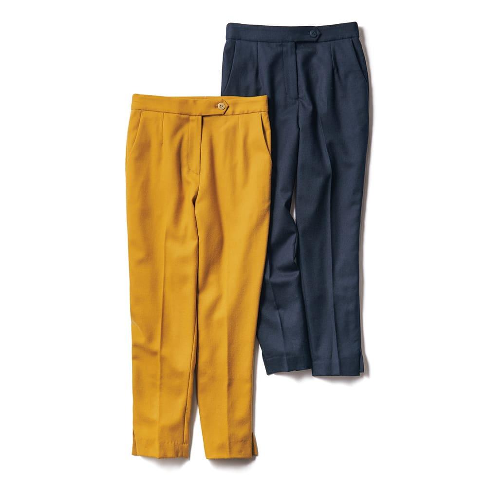 裾スリット入り クロップドパンツ 左からターメリック、ネイビー ※今回ネイビーの販売はございません。