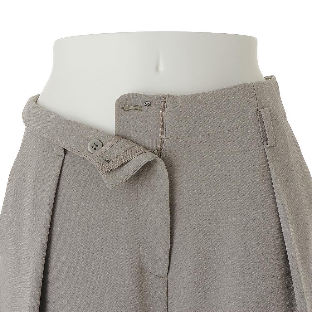 (股下丈74cm)トリアセ混 二重織り ドレープ ワイドパンツ