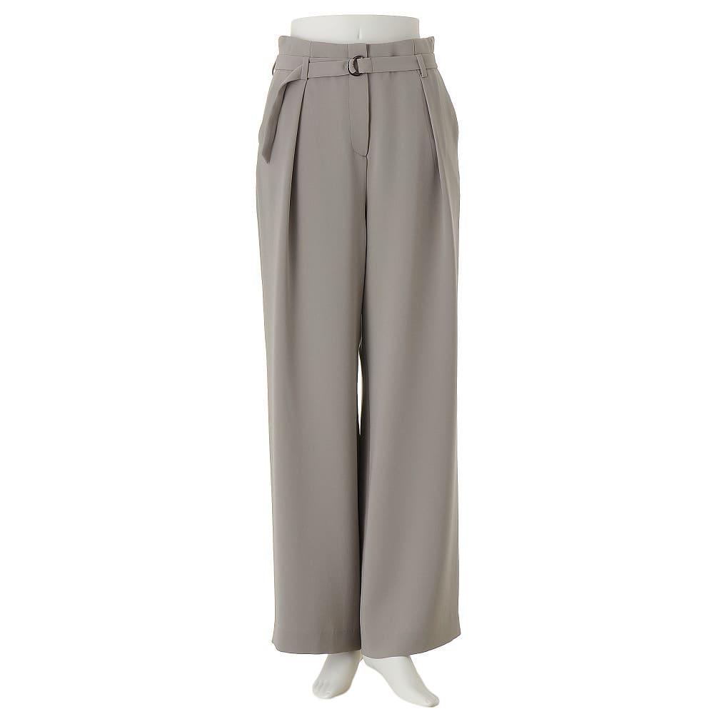 (股下丈74cm)トリアセ混 二重織り ドレープ ワイドパンツ 【股下丈74cm】
