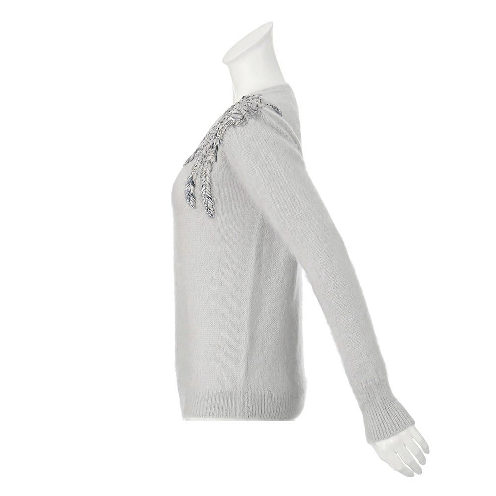 リボン刺繍 モヘヤ混 プルオーバー