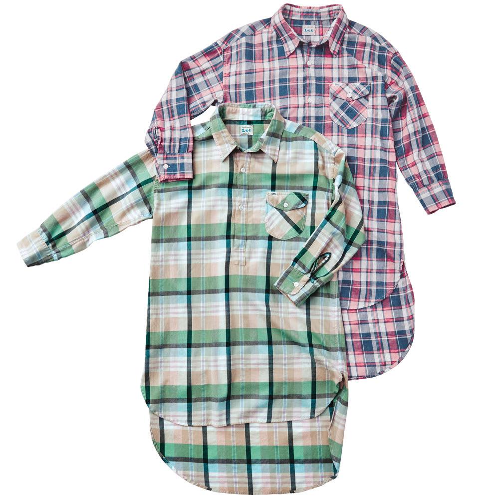 Lee/リー チェックロングシャツ 上から(ア)ピンク×ネイビー (イ)グリーン×ベージュ