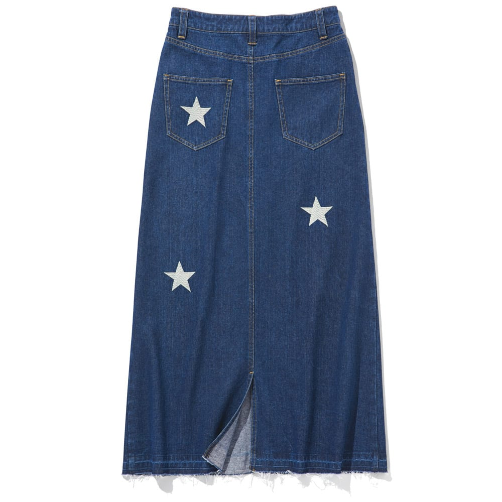 星柄刺しゅうデニムスカート BACK STYLE