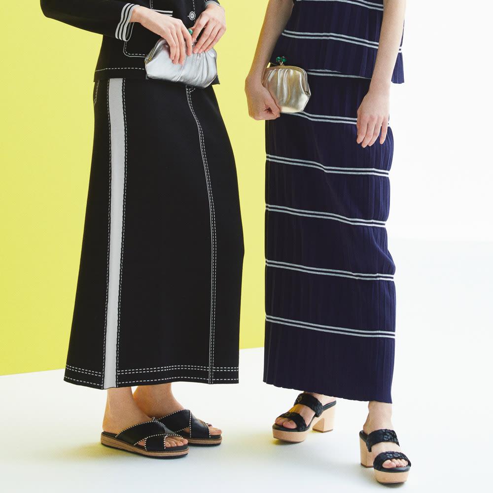 ボーダープリーツ ニットスカート (右)ボーダープリーツ ニットスカート コーディネート例