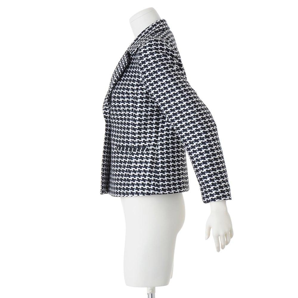 イタリア素材 千鳥格子風ツイード テーラードジャケット
