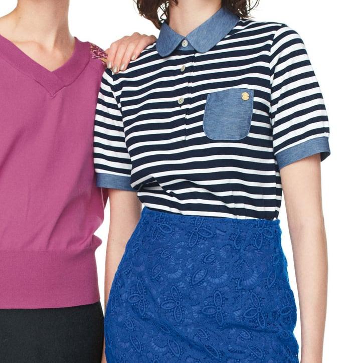 異素材を組み合わせた ボーダーポロシャツ (右)異素材を組み合わせた ボーダーポロシャツ ※今回こちらのお色の販売はございません、参考画像です。