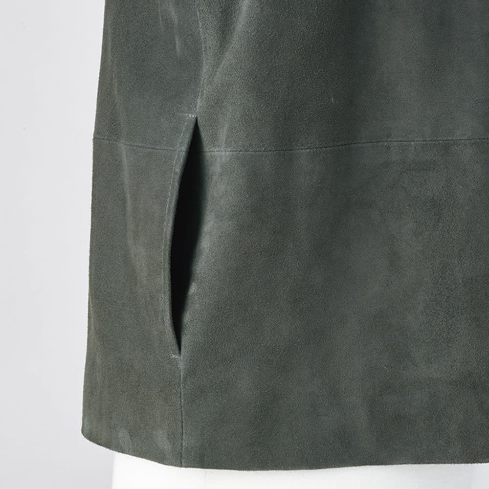 ゴートスエード パフスリーブ ブルゾン 脇部分にスラッシュポケットを配して、ミニマルな表情に。