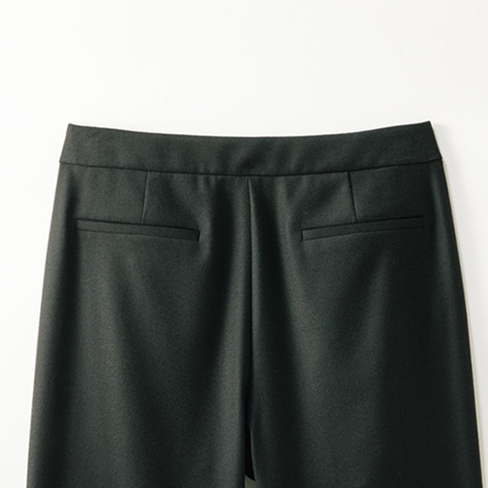 (股下丈63cm) ラップ風 タックデザイン パンツ (イ)ブラック BACK