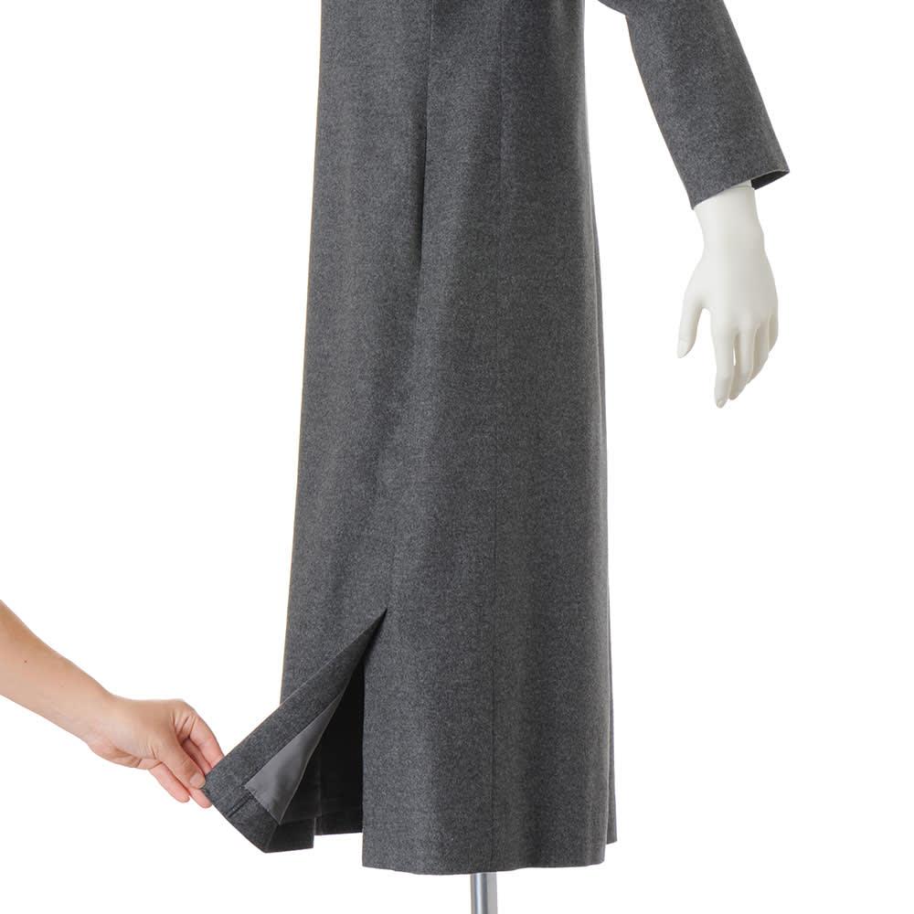 ノバラ社 イタリア素材 シルク起毛仕上げ ワンピース 両脇裾ベント仕様