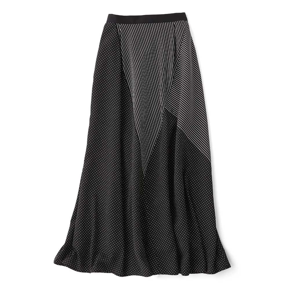 ドット×ストライプ  切り替えスカート