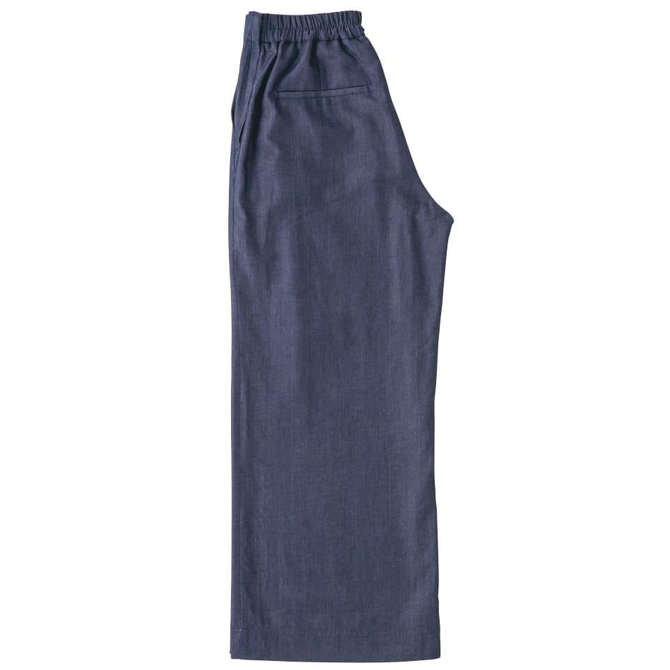 (L-LL) インディゴ染めドビー ワイドパンツ(大きいサイズ) (イ)インディゴ BACK Style