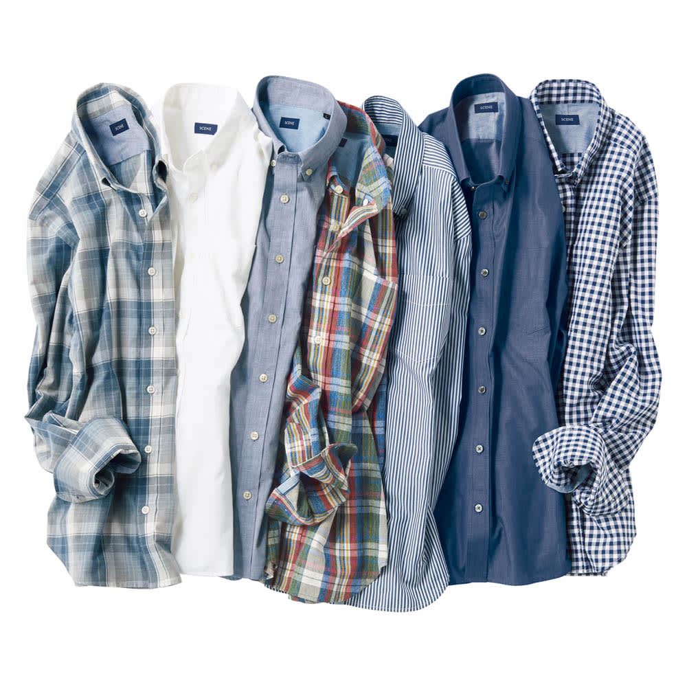 SCENE/シーン インディゴ チェック シャツ(日本製)(サイズS) ボタンダウンシャツ シリーズ