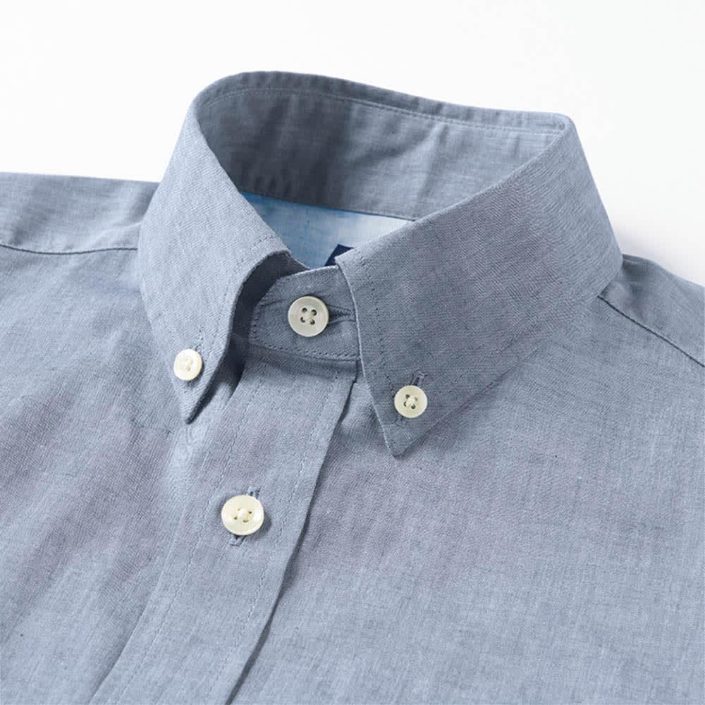 SCENE/シーン インディゴ チェック シャツ(日本製)(サイズS) ネクタイをはずしたときやボタンを開けたときにもサマになる、小さめな襟のボタンダウン。 ※画像は同シリーズの別商品(商品番号:PC67-01)です。