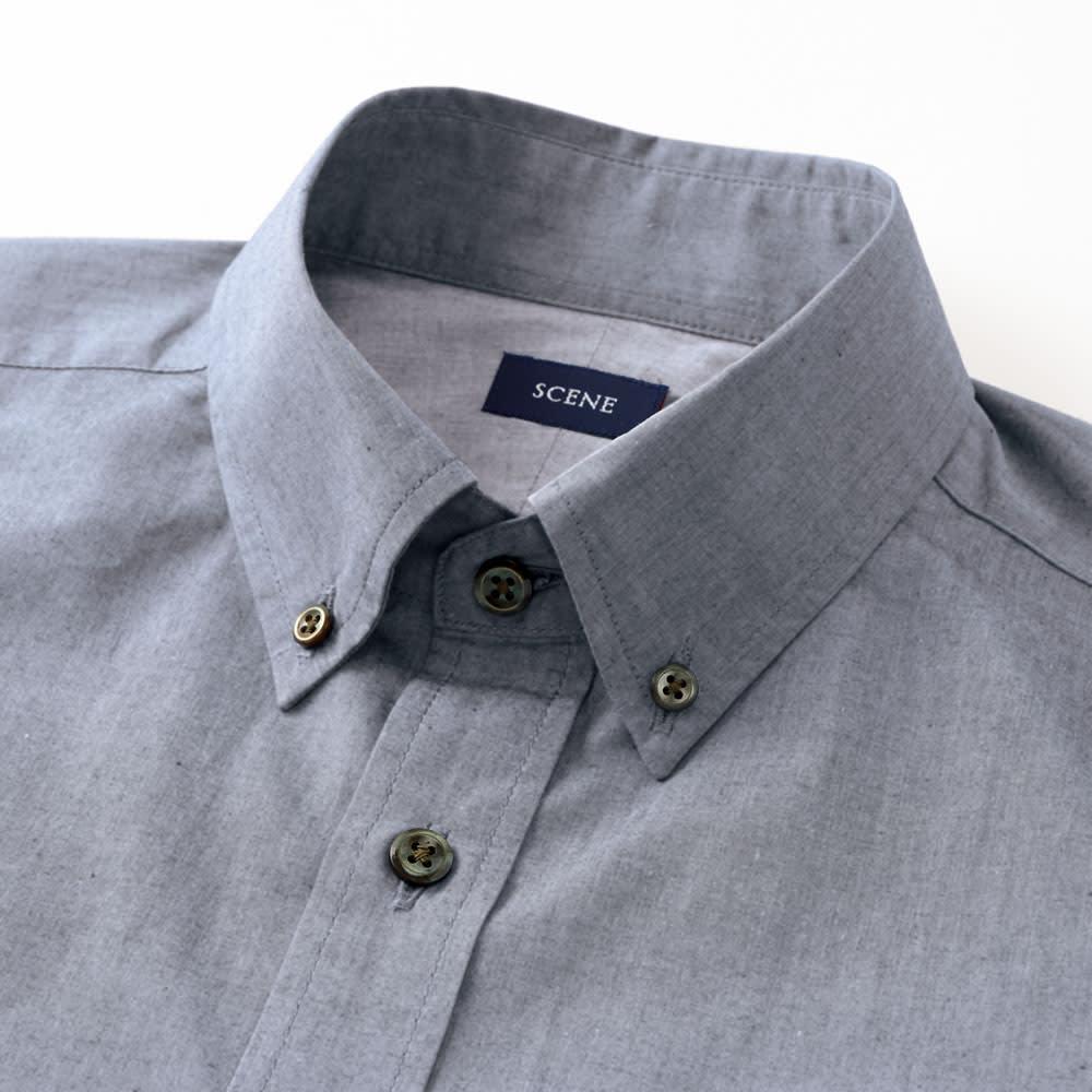 SCENE/シーン ジャパンメイド ヘリンボーン チェック シャツ スリム ネクタイをはずしたときやボタンを開けたときにもサマになる、小さめな襟のボタンダウン。 ※こちらの画像は同シリーズのカーボンピーチシャツ(商品番号:PC67-11)です。