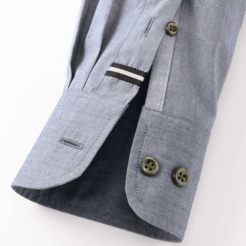 SCENE/シーン ジャパンメイド ヘリンボーン チェック シャツ スリム 上剣ボロにグログラン、下剣ボロには別布を施し、さりげない遊び心をプラス。 ※こちらの画像は同シリーズのカーボンピーチシャツ(商品番号:PC67-11)です。