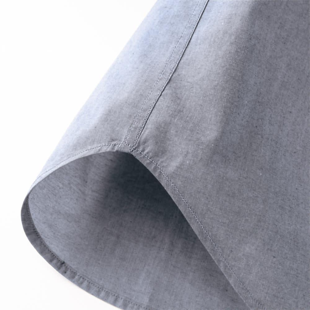 SCENE/シーン ジャパンメイド ビッグチェック シャツ スリム サイドは耐久性を上げる折り伏せ縫いという始末、肌に縫い目があたらないという利点も。 ※こちらの画像は同シリーズのカーボンピーチシャツ(商品番号:PC67-11)です。