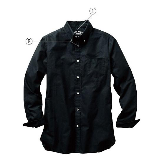 (3L・5L)オックスフォード ボタンダウンシャツ (長袖) (イ)ブラック  (1)プリントタグなのでチクチクしません。 (2)第二ボタンのボタンホールにはこだわりのカラー配色使用。