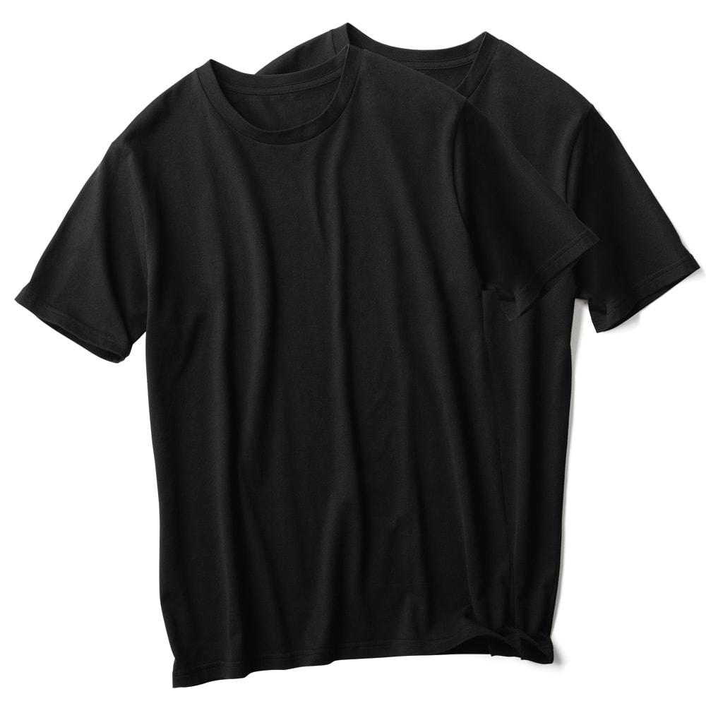 2枚組Tシャツ クルーネック(日本製) 同色2枚組 ブラック 2枚組