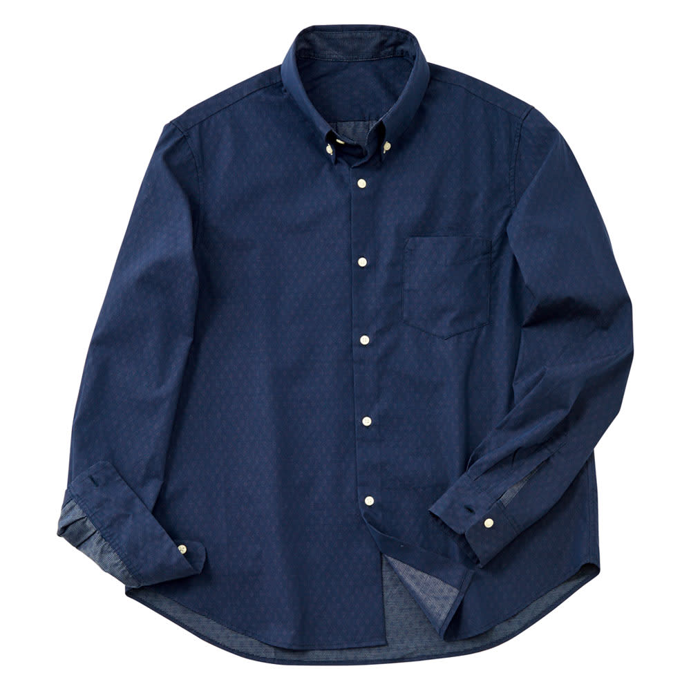 ドビーダイヤ柄ボタンダウンシャツ(サイズLL) (ア)ネイビー