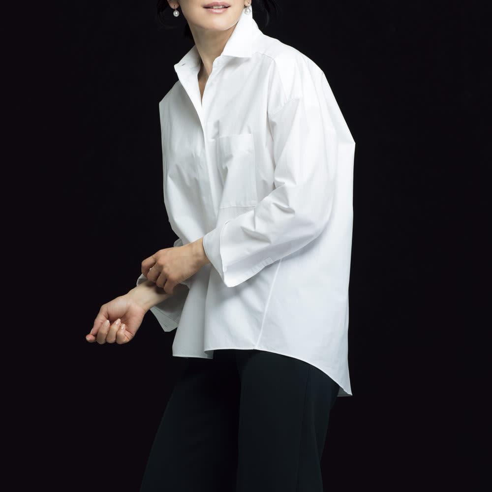 コットンブロード 比翼オーバーシャツ (ア)オフホワイト コーディネート例