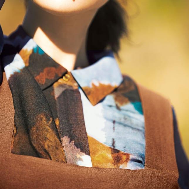 EMA BLUE'S/エマブルー タイダイ風プリント とろみシャツ コーディネート例