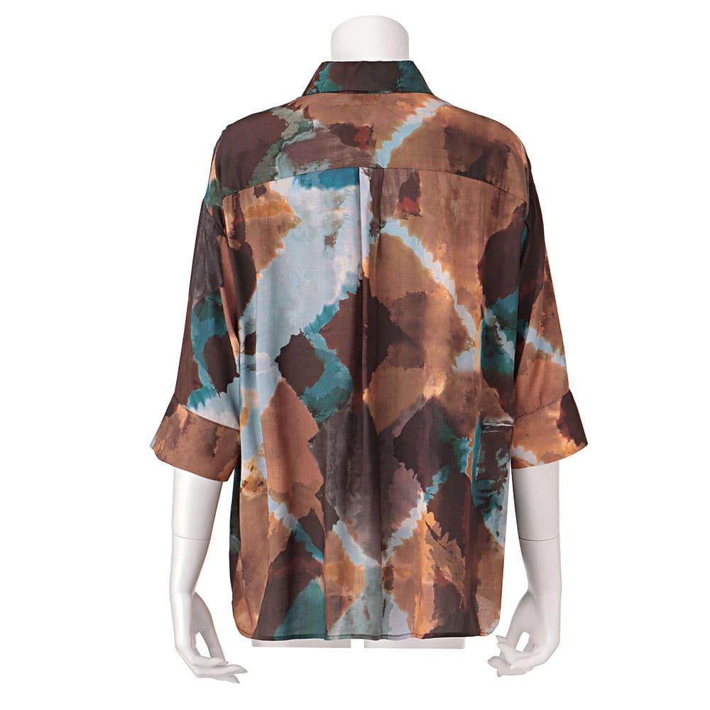 EMA BLUE'S/エマブルー タイダイ風プリント とろみシャツ