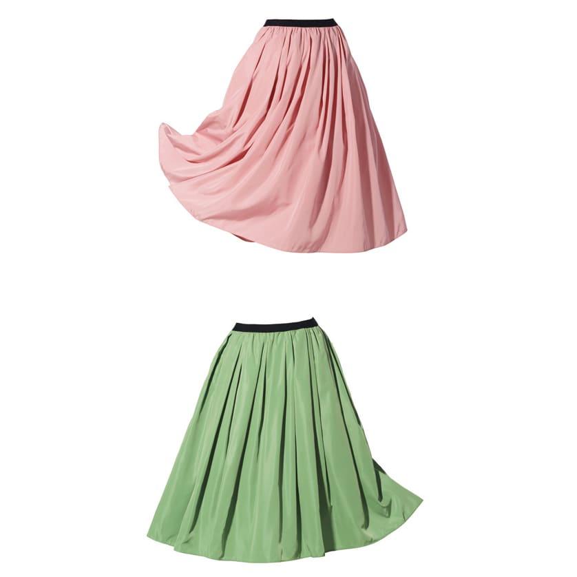 (総丈73cm)TRECODE/トレコード 神戸・山の手スカート 上から(イ)ピンク、(ス)ピスタチオ(web限定色)
