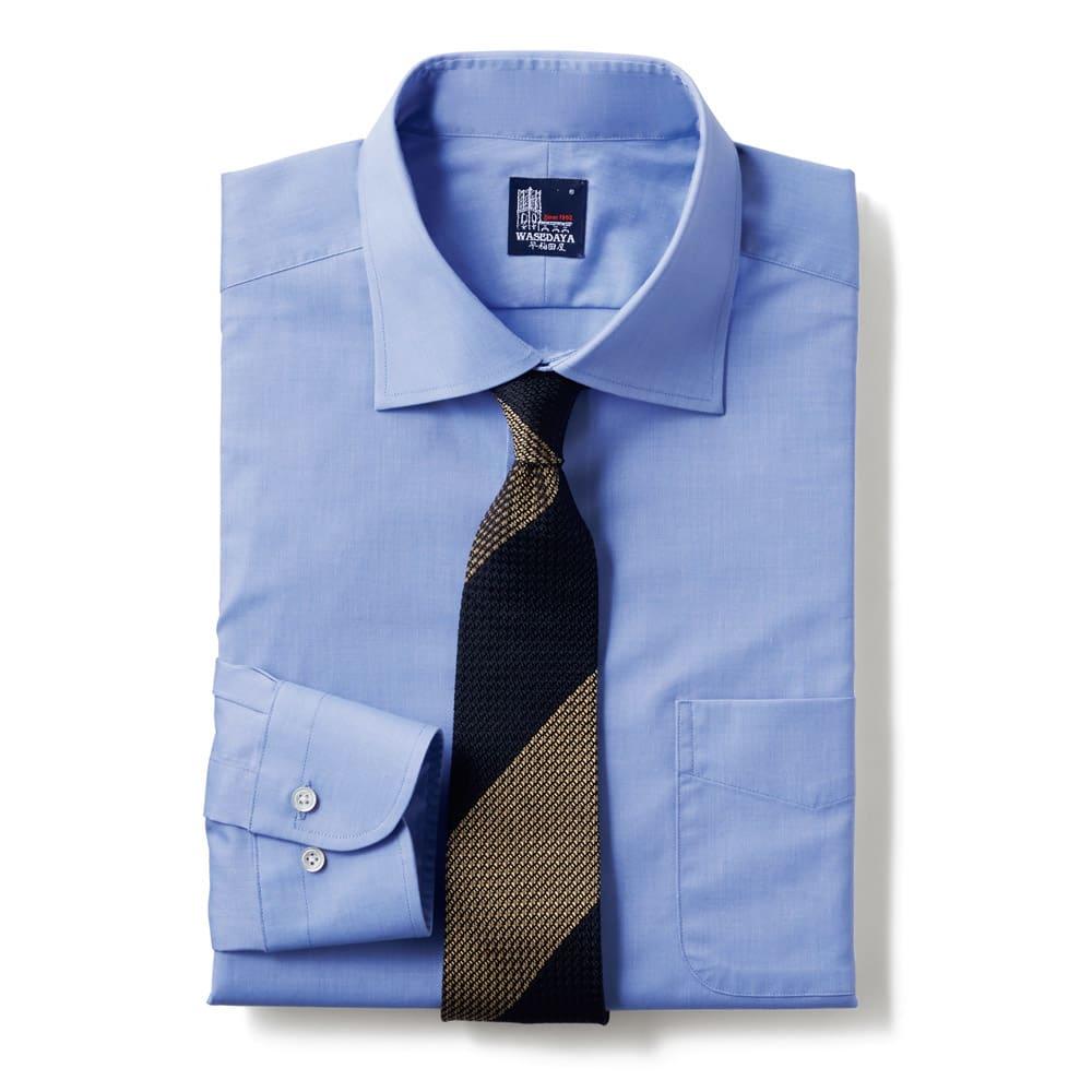 100番双糸 GIZAコットン ワイドカラー ワイシャツ (ウ)サックス ※ネクタイは含まれません