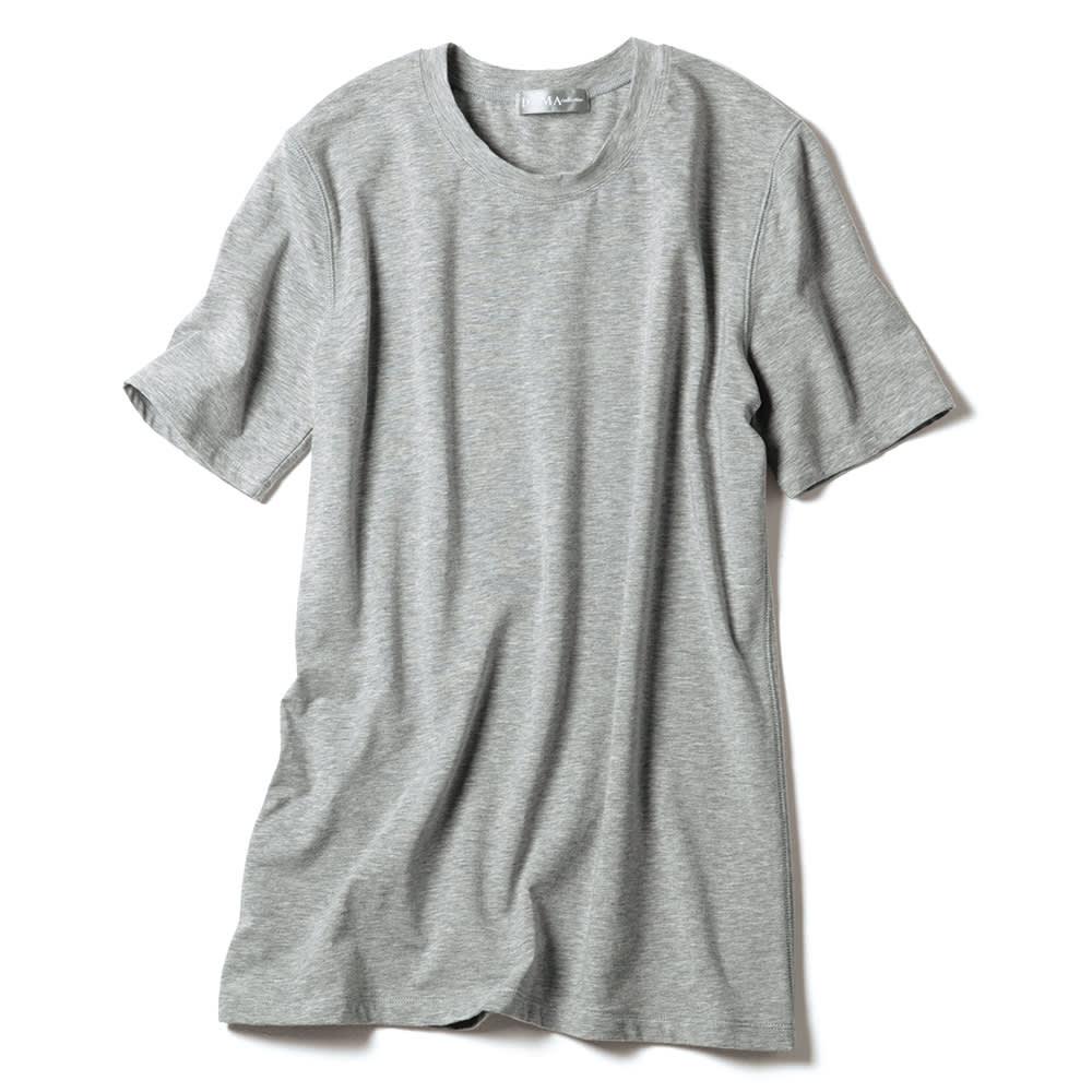 洗えるハイゲージコットンベア天竺シリーズ クルーネック 半袖 Tシャツ【2点以上で10%OFF】 (オ)グレー【web限定色】