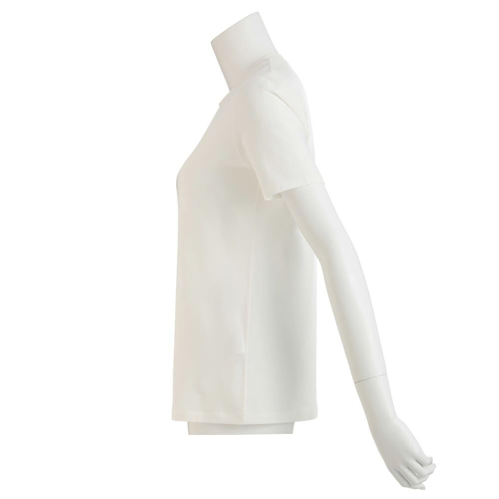 洗えるハイゲージコットンベア天竺シリーズ クルーネック 半袖 Tシャツ【2点以上で10%OFF】 (ア)ホワイト