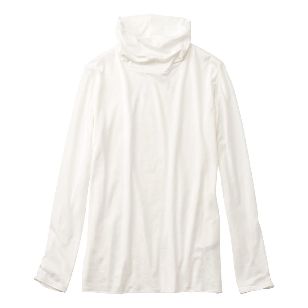 スマイルコットン 身頃二重仕立てシリーズ タートルネック 長袖 Tシャツ (ア)オフホワイト