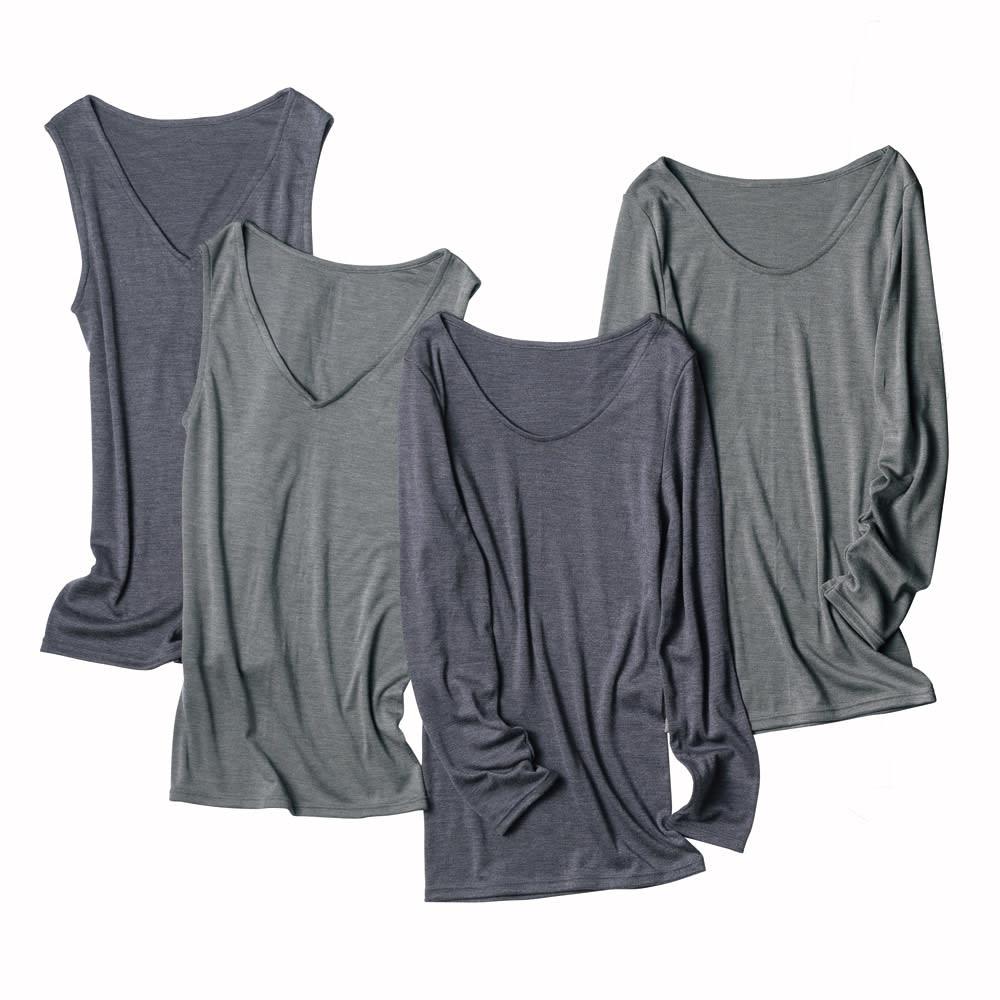 【S・M・L】 ウールシルク 暖かインナー Vネック スリーブレス 左から (ア)グレイッシュネイビー (イ)チャコールグレー ※右の2つは同シリーズの九分袖タイプです。